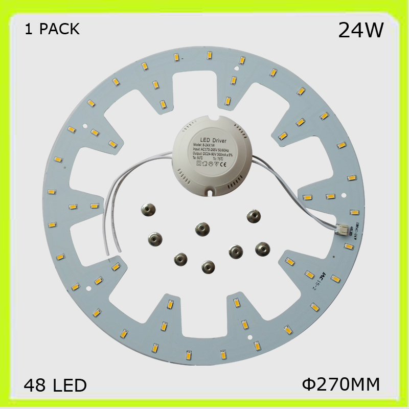 1 PACK round 24W LED ceiling light 2300LM PCB led plate DIA 272MM circular techo LED 120 ...