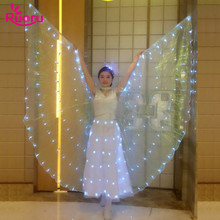 Ruoru Whole Sets Adult Ballet Dance Led Wings White Dress Hair Flower Costumes Long Dancewear