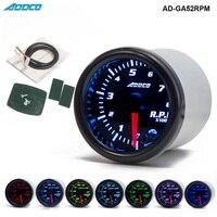 Car Auto 12V 52mm 2 7 Colors Universal Car Auto Tachometer Gauge Meter LED With Sensor