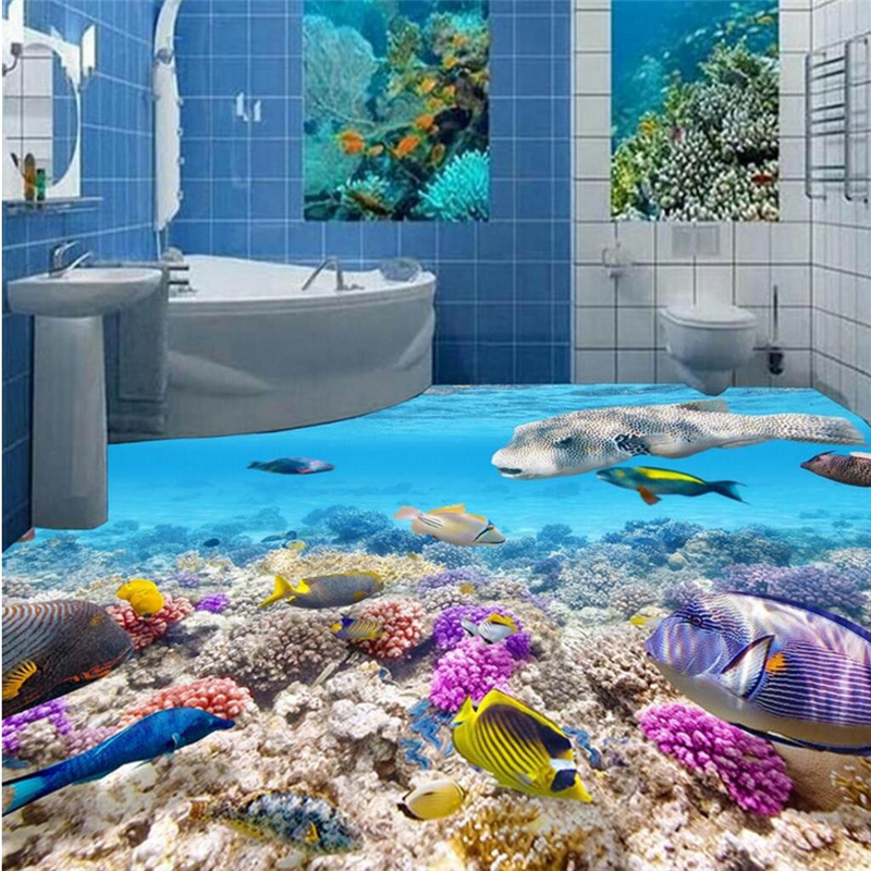 beibehang Floor Paintings High Definition Underwater World Fish 3D 3D 3D Floor Painting papel de parede 3d para sala atac