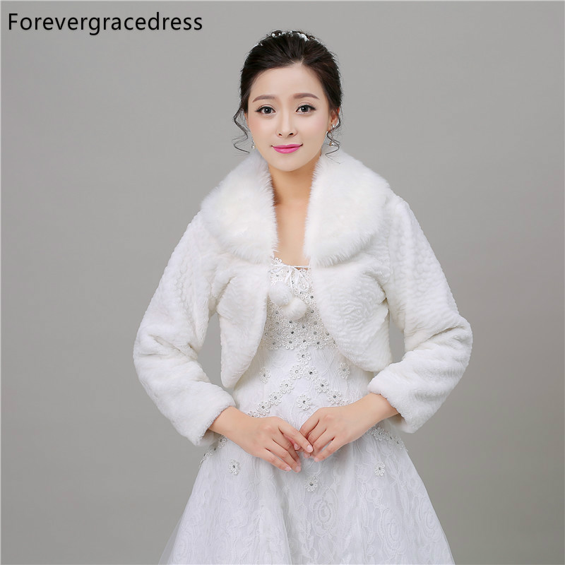 Forevergracedress New Hot Sale Winter Faux Fur Wedding Wrap Bolero Jackets Bridal Coat Cape Cloak Shawls Scarves In Stock