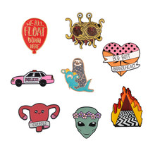 Enamel Pin Collection Butt Heart Sloth Balloon Artist Car Alien Cuterus Twin Peaks Pastafarianism Brooch Badge Brooches and Pins(China)