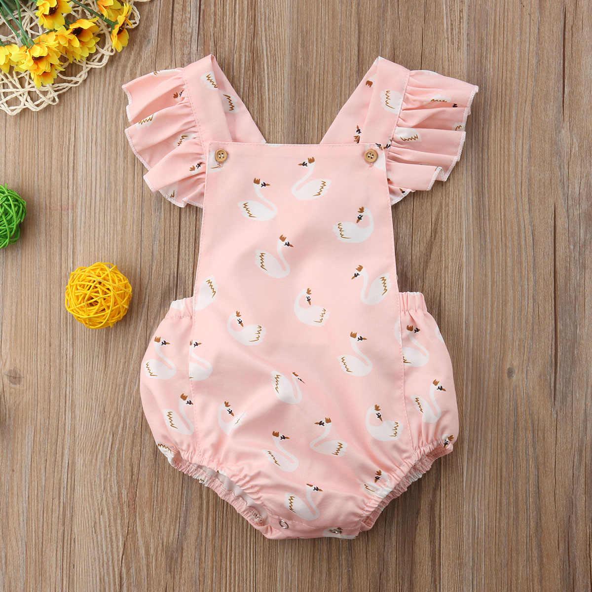 유아 아기 소녀 여름 사랑스러운 예쁜 romper 0-3y 짧은 꽃잎 슬리브 만화 동물 인쇄 핑크 jumpsuits romper 아기 옷