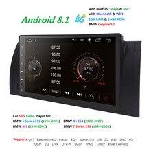 9»Big Экран 2 Гб Оперативная память 16 Гб Встроенная память Android 8,1 Quad 4 ядра стерео для BMW E39 M5 X5 E53 + HD 1024X600 + DVR/WI-FI + DSP + DAB + 4G TPMS RDS
