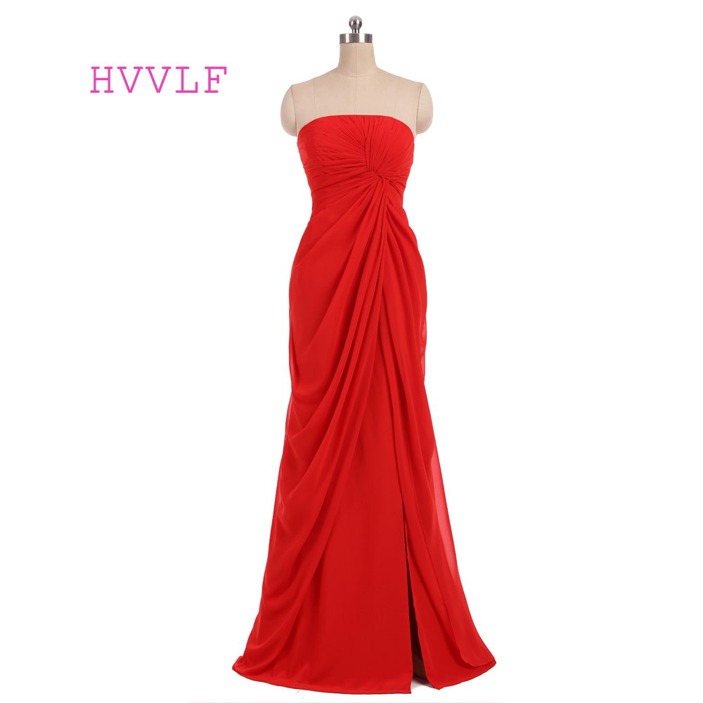New Red 2019 Mermaid Strapless Floor Length Chiffon Backless Slit Long Bridesmaid Dresses Cheap Under 50 Wedding Party Dresses