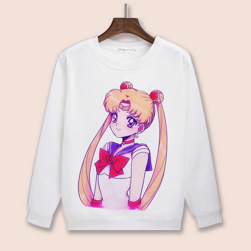 Sudadera con capucha y cuello redondo con capucha de alta calidad Unisex Anime Cosplay Sailor Moon Chiba Mamoru Chibiusa Mizuno Ami