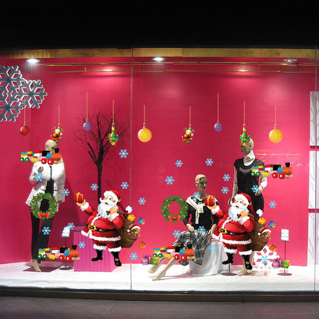 Santa Claus Christmas Wall Stickers Window Glass Christmas Decorations Wall Decal 2016 New DIY Home Decor AM9080B 60*90