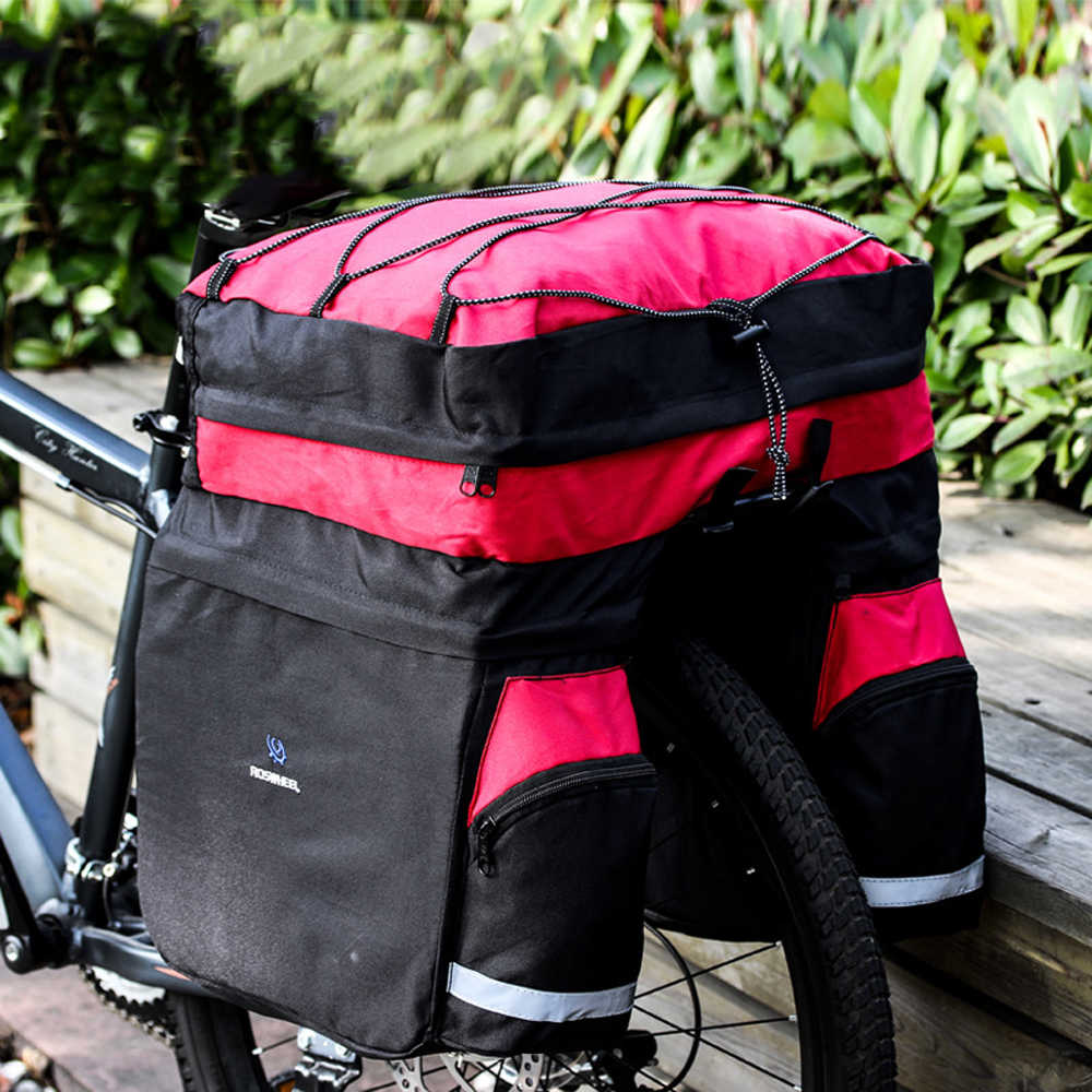 ROSWHEEL Bicicleta Saco Tronco Tampa 3-em-1 60L MTB Bicicletas Transportadora Rack Traseiro Saco de Volta Assento À Prova D' Água ciclismo Bicicletas capa de Chuva Saco