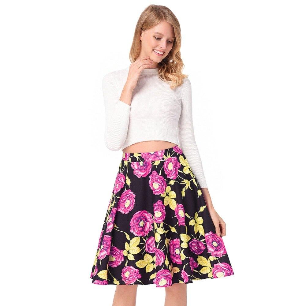 2018 spring summer new womens high waist A word skirt retro Hepburn rose print Cute fashion office lady Pleated skirt