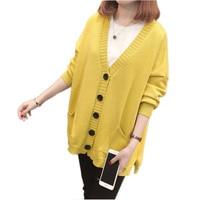 2019 Spring New Cardigan Woman V Neck Mid Long Loose Fashion Elegant Sweater Autumn Large Size Casual Knitwear Coat Female Vs538