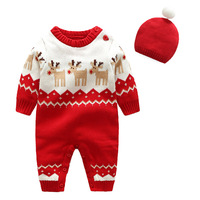 [Bosudhsou] MIN 5 Baby Boys Rompers Winter Newborn Girls Christmas Jumpsuits Infant Bebe Overalls Knitted Wool Toddler with Hat