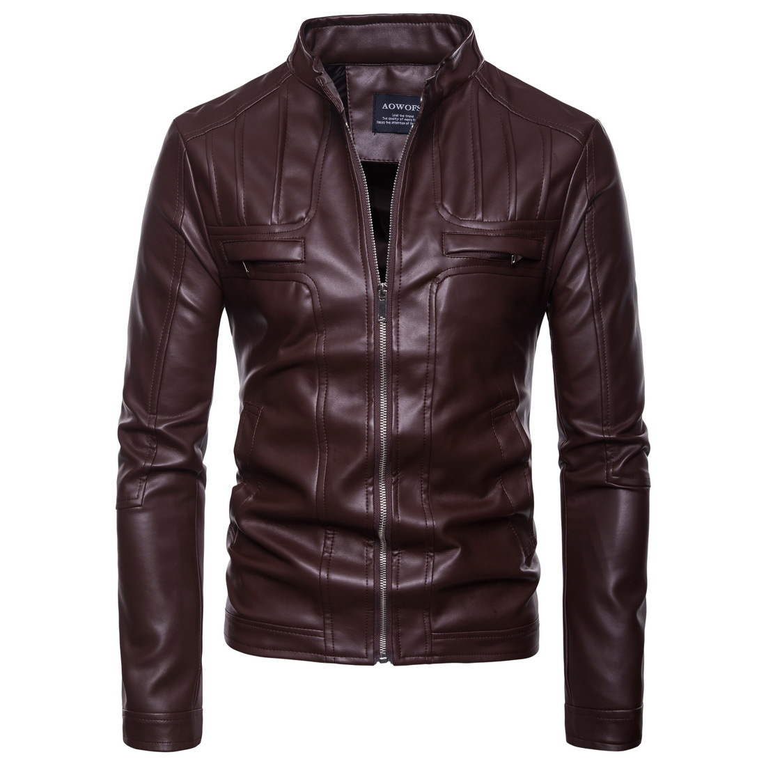 dd5afd5f375fd PU Leather Coat Men EUR Size 2018 New Male Locomotive Vertical Collar  Leather Jacket Handsome Leather Jacket Plus Size Outwear-in Faux Leather  Coats from ...