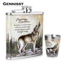 GENNISSY Wolf und Wald Muster Mini Alkohol Flasche 7 unze Metall Bar und Outdoor-sportarten Gewidmet Edelstahl Flachmann Set