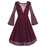 2019 Autumn Women Long Sleeve Lace Dress Sexy Backless Evening Party Dress Solid Color Pin Up Dresses Vintage Bottoming Vestidos