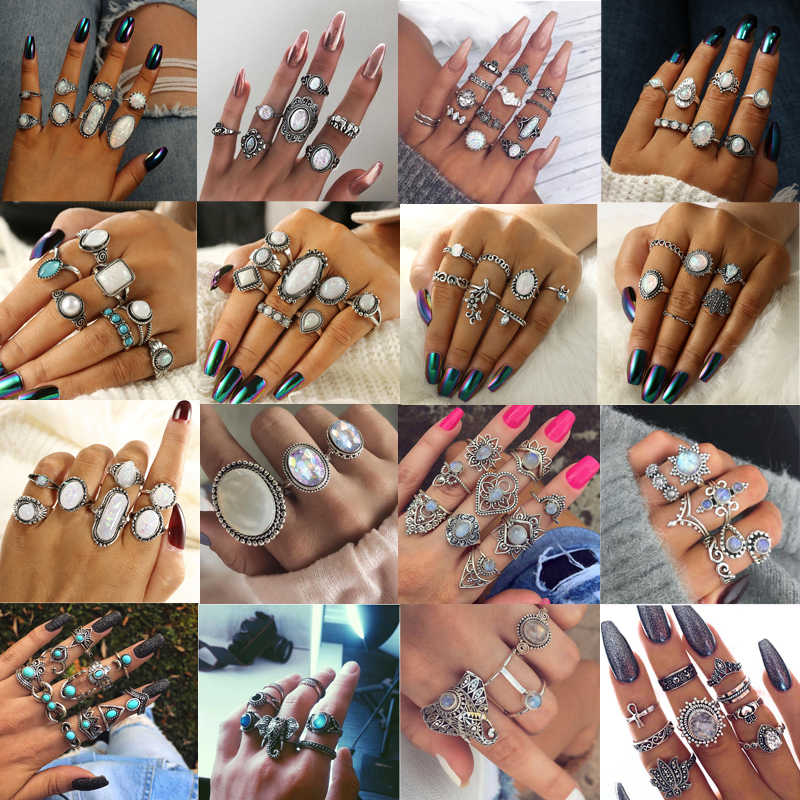 Tocona 20Style Bohemian Large Crystal Metal Silver Flower Elephant Joint Midi Knuckle Ring Set For Women Vintage Geometric Ring