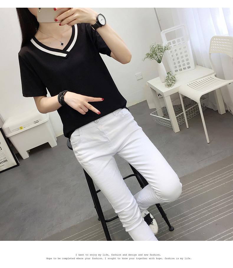 4XL 5XL Plus Size Korean Women's Clothing Fashion Big Size T-shirt Female V neck Short Sleeve Casual obesity Tee Shirt Top Femme 46