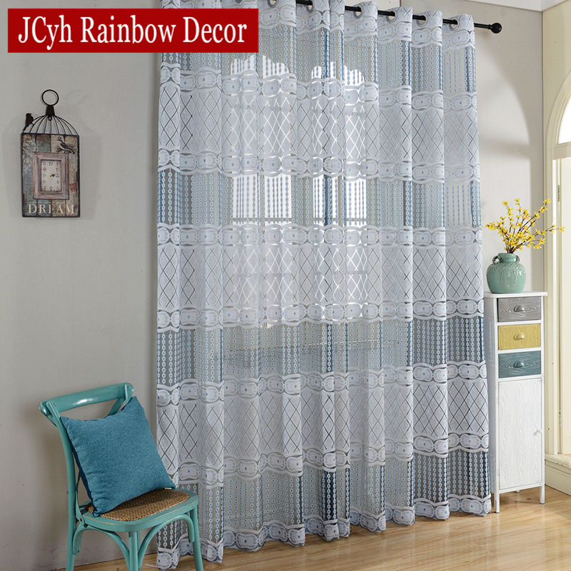 Kitchen Entrance Curtain: Luxury Sheer Tulle Curtains For Living Room Bedroom Blue