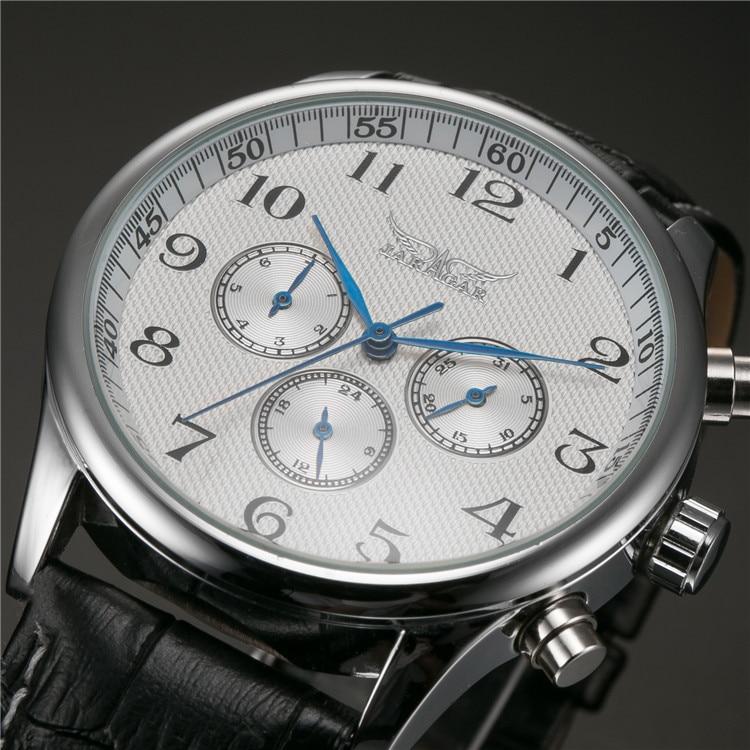 Horloges Mannen JARAGAR Klasszikus fehér tárcsás kék kéz férfi automatikus mechanikus karóra nap dátuma 24 órás karóra férfi relogio