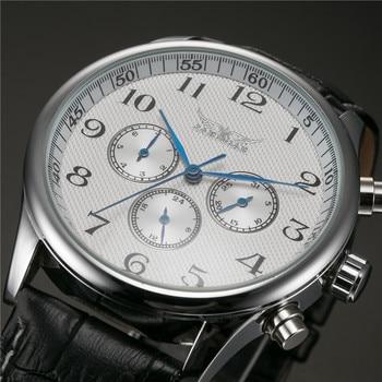 Horloges Mannen JARAGAR, reloj de pulsera clásico con esfera blanca y manos azules para hombre, reloj mecánico automático con fecha de 24 horas para el día, reloj de pulsera para hombre