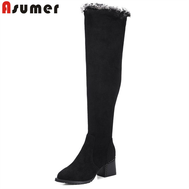 ASUMER fashion autumn winter boots pointed toe fur over the knee boots women suede leather boots thick high heels boots zip asumer 2018 fashion autumn winter boots zip round toe suede leather knee high boots women thick high heels boots ladies shoes