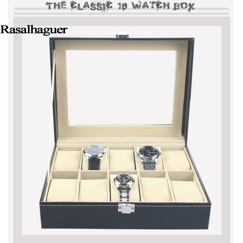 Watch Box Black 10 Grid Leather Fashion Watch Box Display Case Watch Storage Organizer Box Holder Jewelry Box Bracelet Organizer fashion wrist watch box jewelry bangle bracelet display storage holder organizer