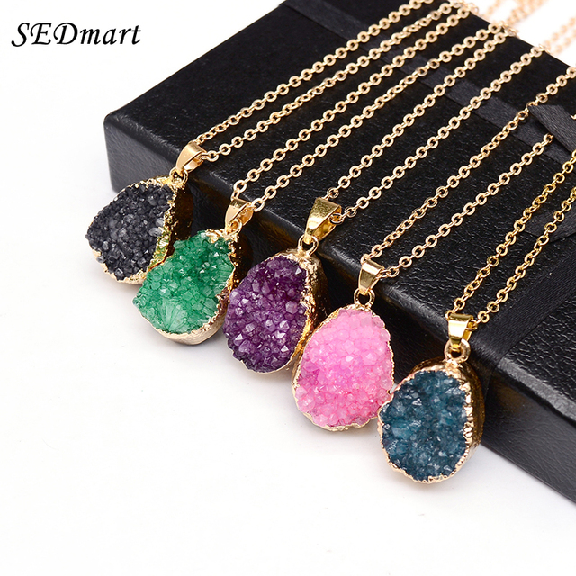 SEDmart Druzy Quartz Natural Stone Irregular Geode  Gold Color Raw nyx Stone Pendant Necklace For Women Quartz Necklace