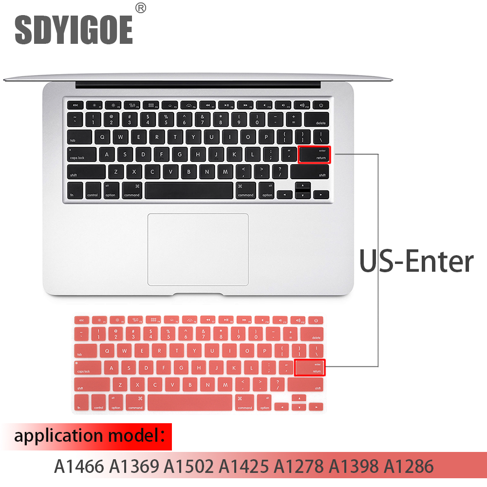 Laptop Keyboard Cover for MacBook Air 13 Pro 15 Inch A1466 A1502 A1278 A1398 Us Silicon Keyboard Cover Color Protective Film-B