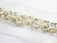 5yards Craft Braided White Rhinestones Lace Trim Embroidered Lace Ribbon Trim Costume Applique Sewing on Trim 48mm T482