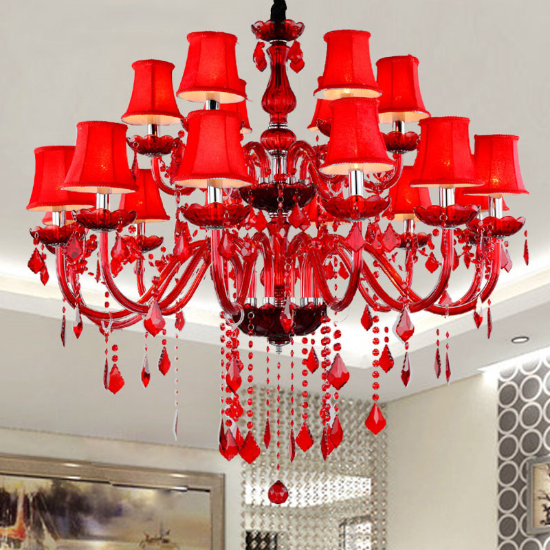 Modern Crystal Chandeliers E14 Socket LED Bulbs Without Fabric Lampshade Red K9 Chandelier Crystal lampadario Chandelier