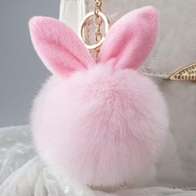 Starry-Styling Artificial Rabbit Fur Ball Keychain Women Bag Plush Key Ring Car Key Pendant Delicate Candy Color