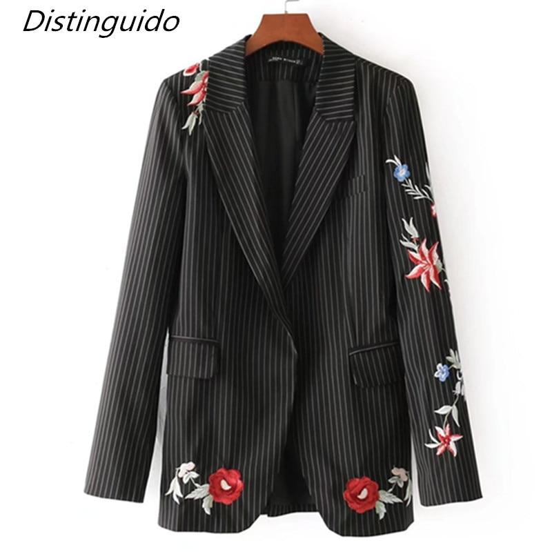 Здесь продается  Fashion Striped Blazer Women Brand Emboried Spring Autumn Jacket  blazer  feminino 2018 jaqueta feminina BL1805  Одежда и аксессуары