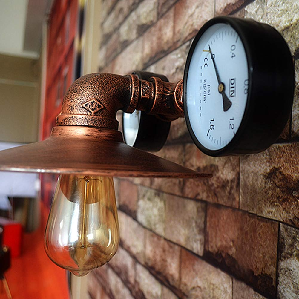 Retro Loft Style Water Pipe Vintage Industrial Wall Lamp Metal Wall Light E26/E27 Edison Wall Sconce For Home Indoor Lighting