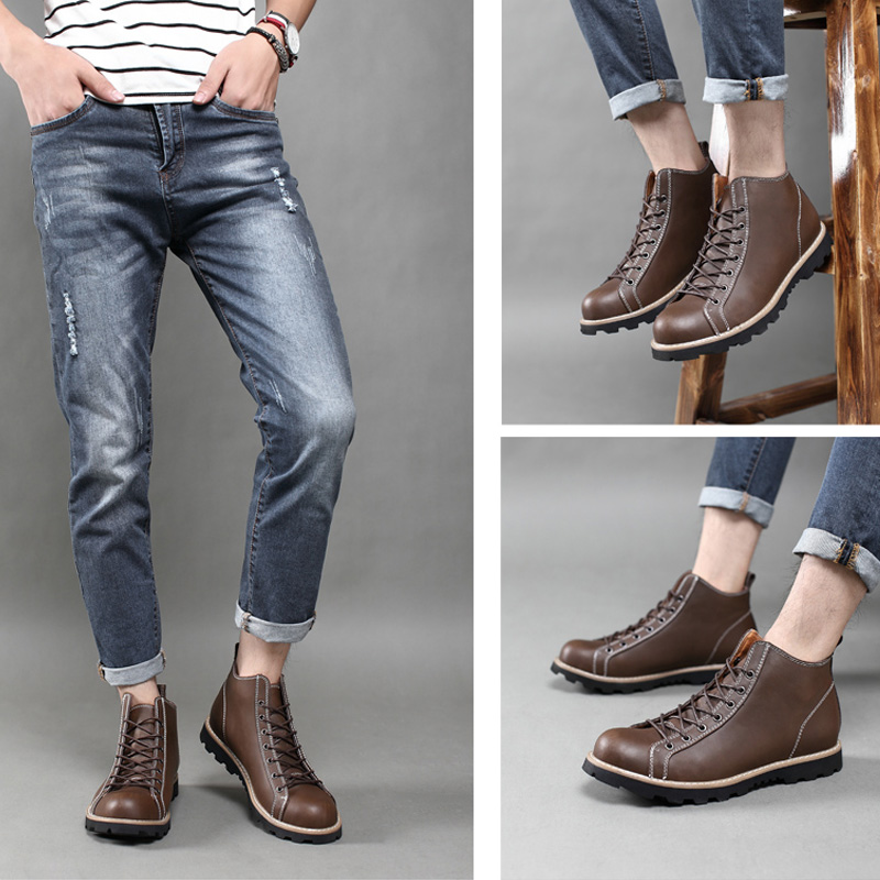 Men Boots Autumn High Top Genuine Leather Boots Men Shoes Round Toe Ankle Boots For Men Zapatos Hombre