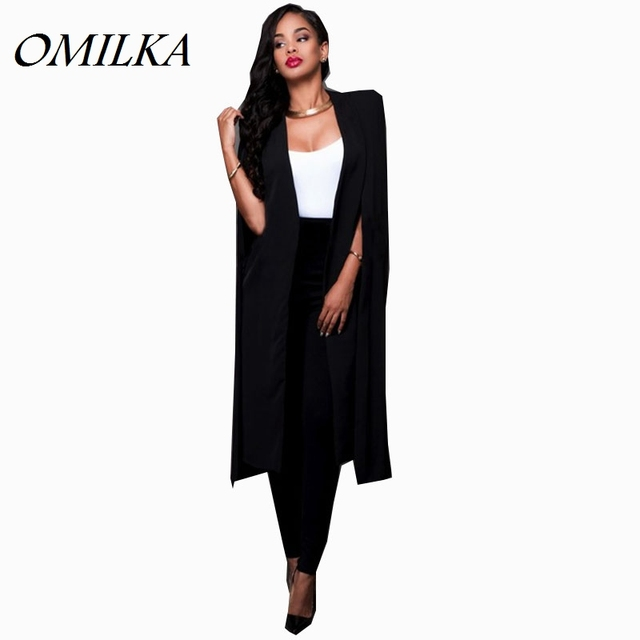 5d78e4ff15a1b OMILKA 2017 Autumn Women Plus Size Long Cape Blazers and Jackets Sexy Black  White Runway Cloak Long Sleeve Club Party Blazer