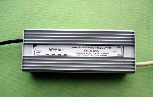 waterproof constant current led driver; AC90-250V input;950ma/60W output;CE and ROHS approved;P/N:YL-60950L