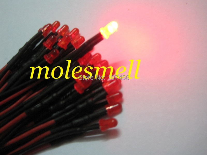 50pcs 3mm 12v Diffused Red 12V DC Red Lens 20cm Pre-Wired LED Light DIY Free Shipping