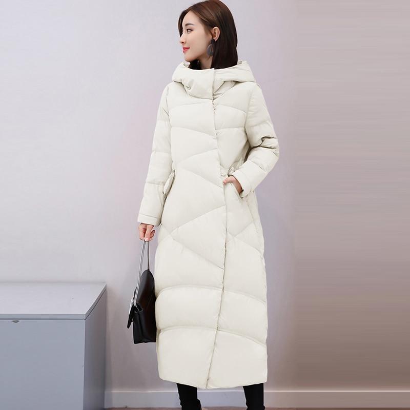 Autumn Winter Female Black Gray Loose   Down     Coat   Outwears White Duck   Down     Coats   Women Long Thicken Hooded   Down   Jackets RE2003