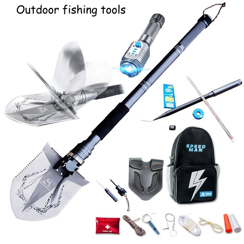Ensemble de pêche en plein air pelle multi-fonctionnelle pelles pliantes pelle militaire pêche Camping outils