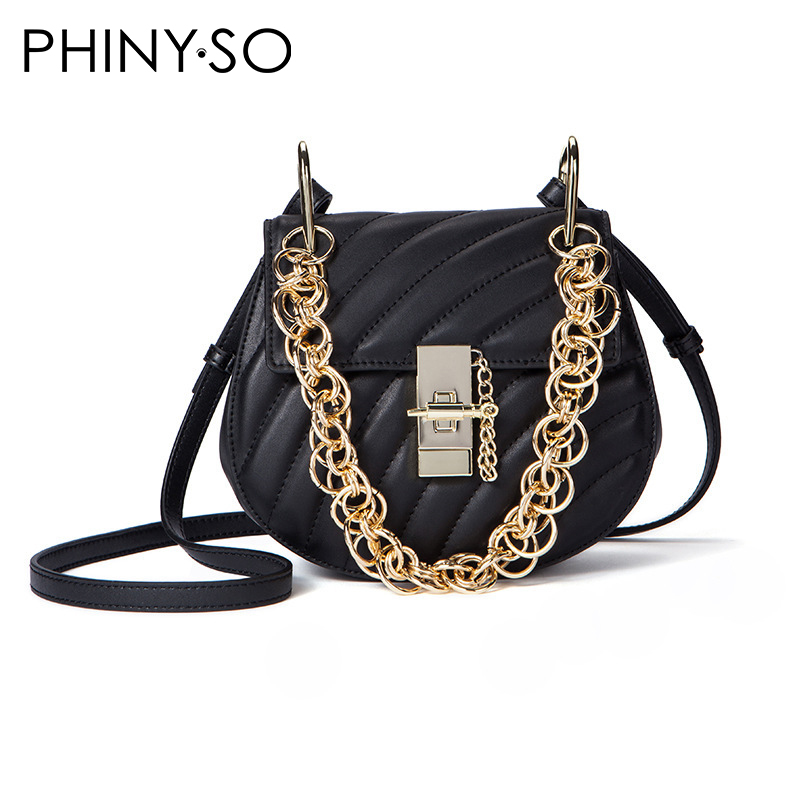 Fashion Ladies designer famous brand style casual Saddle women bags style messenger bag lock and chains handbags good quality