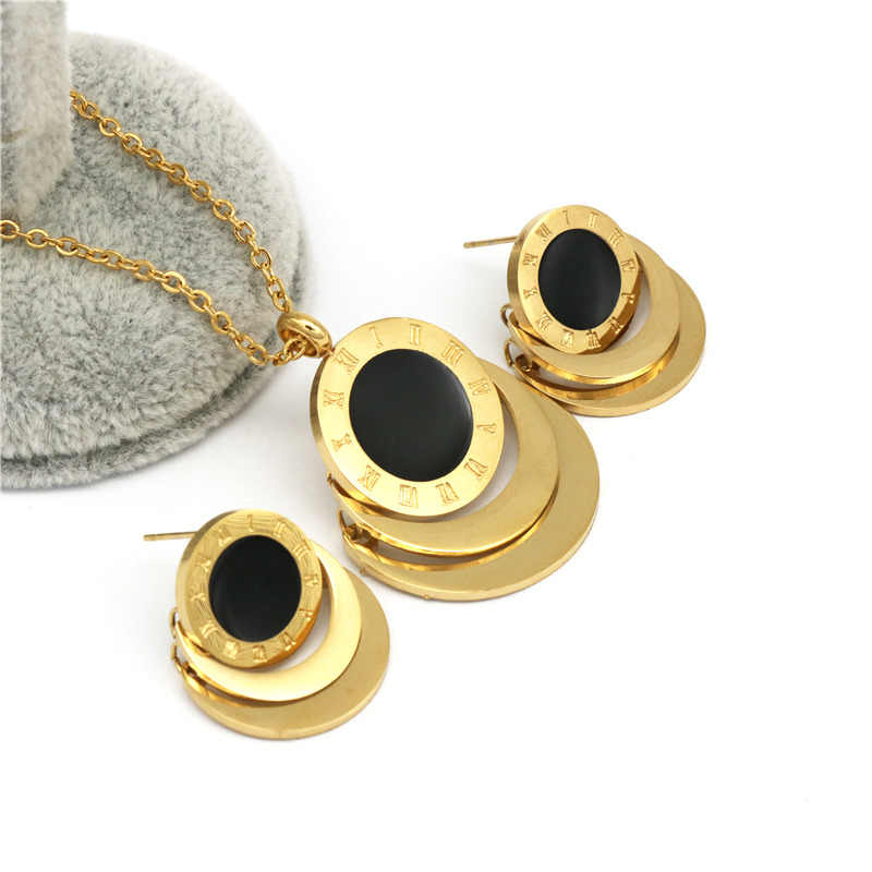 Hot Sale Famous Brand Roman Numberal Jewelry Set Stainless Steel dubai earring necklace Set For women