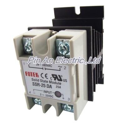DC to AC Solid State Relay SSR-25DA 25A 3-32V 24-380V + Aluminum heat sinkDC to AC Solid State Relay SSR-25DA 25A 3-32V 24-380V + Aluminum heat sink