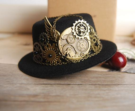 8d0cc2644c3b4 Handmade Gothic Mini Steampunk Victorian Top Hat and Gears Cogs Chains Hats  Hair Clip Costume Accessory