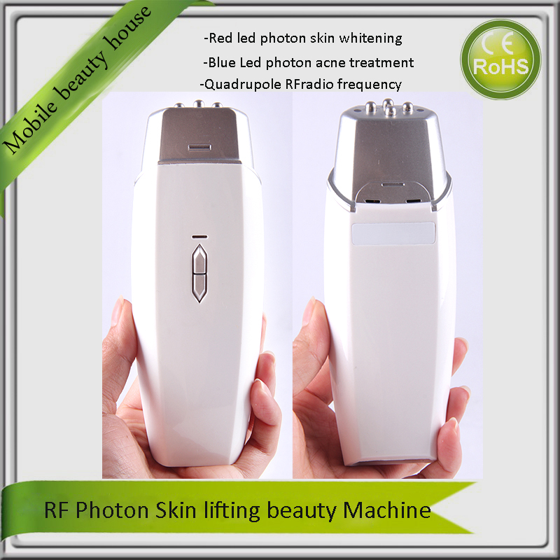 Home Use Portable Blue Red LED Photon Light Therapy RF Radio Frequency Skin Facial Toning Wrinkle Acne Removal Beauty Device mini portable usb rechargeable ems rf radio frequency skin stimulation lifting tightening led photon rejuvenation beauty device