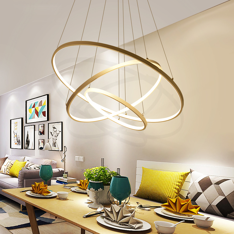 LED Gold Three Circle Pendant Light for Living Room luminaires Office Lamp lanterns Hanging Ceiling Lamps Lamparas Colgantes одежда для сна gold three pagodas