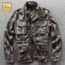 Army Green Mens Genuine Leather Jackets Autumn Biker Pilot Leather Jack