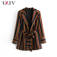 RZIV Spring women suit leisure suit decorated colored striped belt