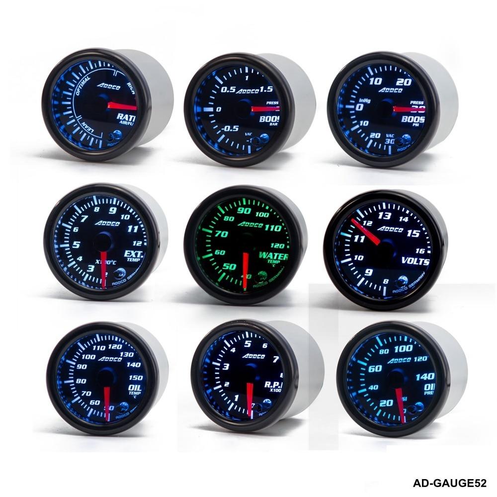 цена на 52mm 7 Color LED Car Meter Tachometer Turbo Boost Gauge /Air Fuel Ratio /Volt /Water temp / W Sensor Holder AD-GAUGE52