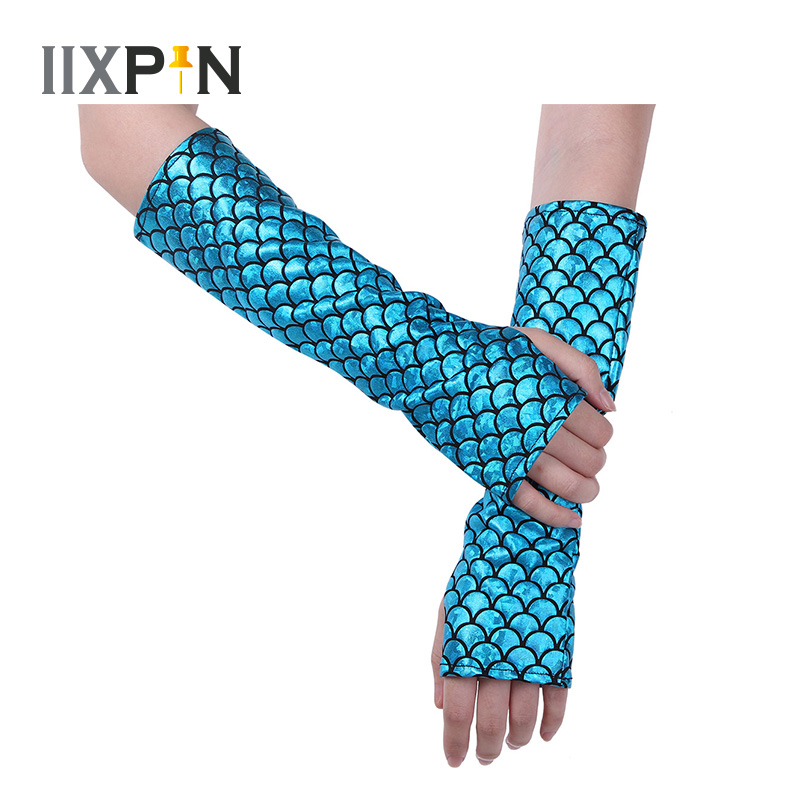 IIXPIN Mermaid Arm Sleeves Glove Fish Scale Pattern Printed Fingerless Long Gloves Arm Sleeves Adult Halloween Costume Accessory