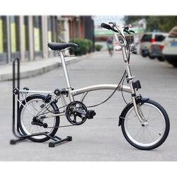 """3 sześćdziesiąt stal chromowana rower składany 16 """"349 miejskie podmiejskich rower z zacisk hamulca Mini tylne Rack wewnętrzne 5 prędkości składany rower stacjonarny w Rower od Sport i rozrywka na"""