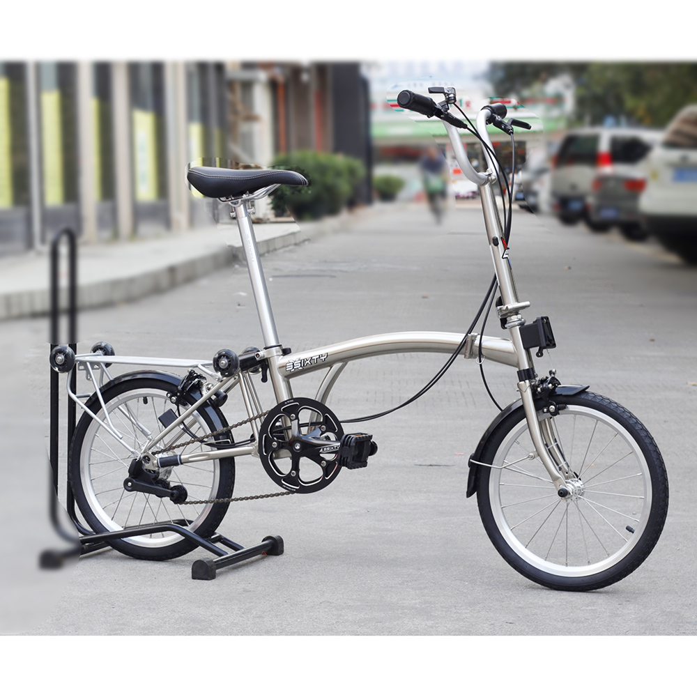 3SIXTY Chrome Steel Folding Bike 16 349 Urban Commuter Bicycle with Caliper Brake Mini Rear Rack Inner 5 Speed Foldable Bikes image
